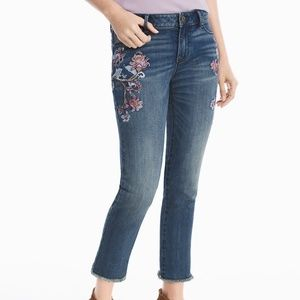WHBM Floral Embroidered Straight Crop Jeans